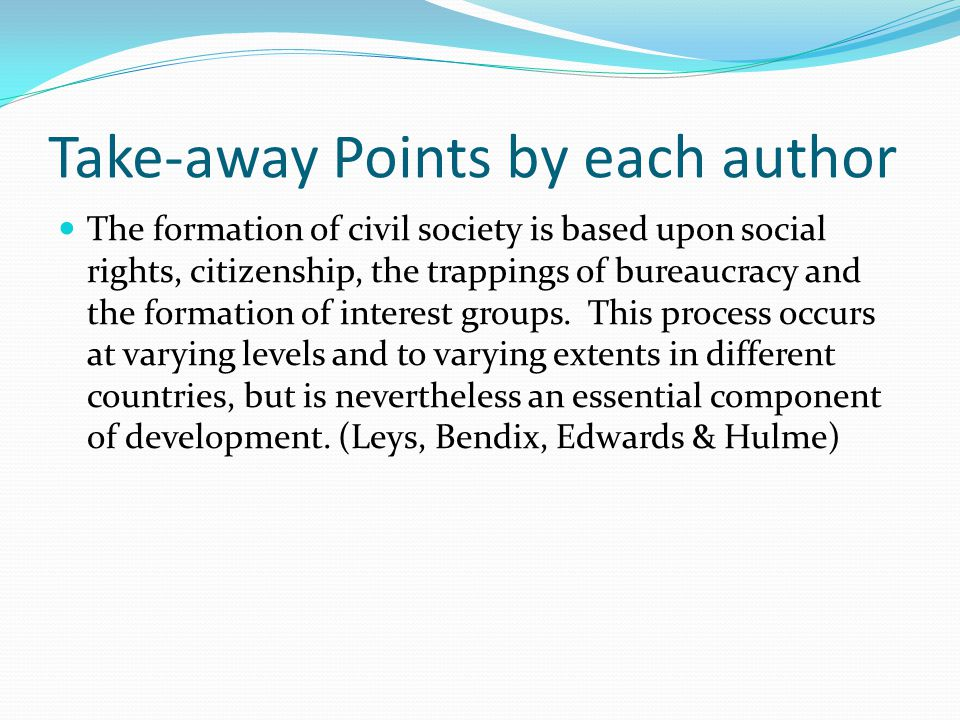 Martinussen Ch 20: Dimensions of Alternative Development Focus on civil society, poverty, inequality, basic needs, human development Need dialogue between approaches Alternative Development: – Origins: Mill, Seers – Redefinition of Development Goals Sen, Seers, Streeten, Haq – Theories of Civil Society Roots: Hettne (utopian socialism), Hegel, Marx, Polanyi, Hyden Friedman (social practice and institutionalization) – Advancements UNEP and UNCTAD IFDA