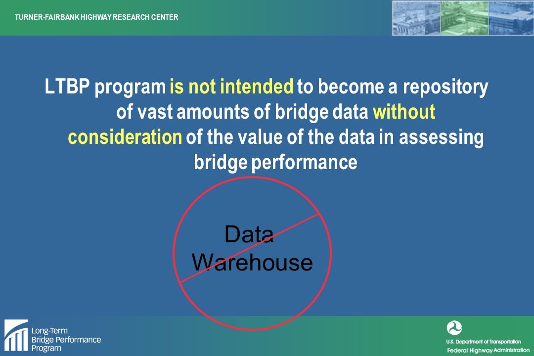TURNER-FAIRBANK HIGHWAY RESEARCH CENTER National Survey – Number of bridges needing work – Structural deficiencies and posting – Condition rating, sufficiency rating and health index – Deficiencies and load carrying capacity – Customer satisfaction Bridge Performance ?
