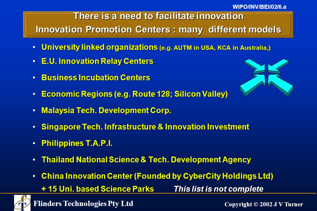Flinders Technologies Pty Ltd Copyright © 2002 J V Turner WIPO/INV/BEI/02/6.a There is a need to facilitate innovation Innovation Promotion Centers : many different models University linked organizations (e.g.