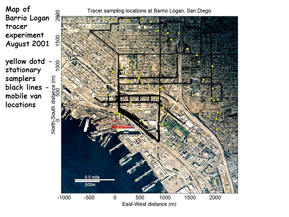 Map of Barrio Logan tracer experiment August 2001 yellow dotd - stationary samplers black lines - mobile van locations