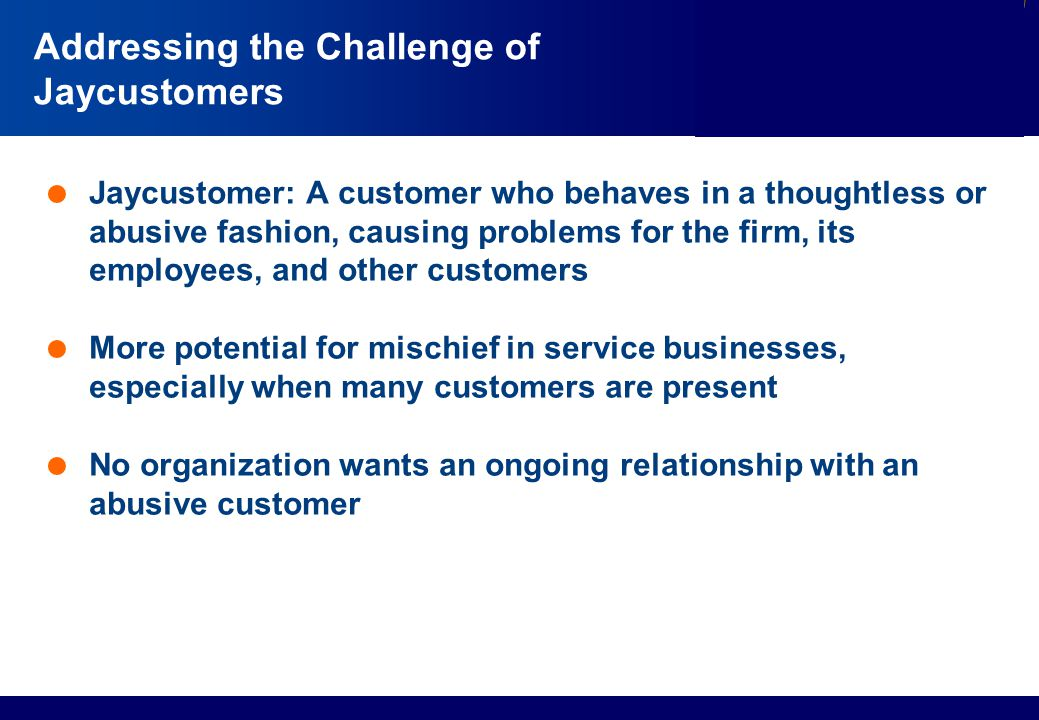 Services Marketing Slide © 2010 by Lovelock & Wirtz Services Marketing 7/e Chapter 13 – Page 20 Addressing the Challenge of Jaycustomers  Jaycustomer