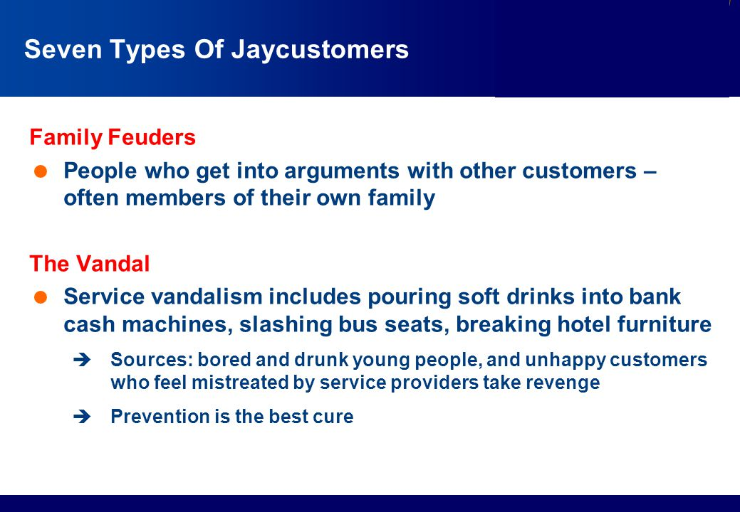 Services Marketing Slide © 2010 by Lovelock & Wirtz Services Marketing 7/e Chapter 13 – Page 24 Seven Types Of Jaycustomers Family Feuders  People wh