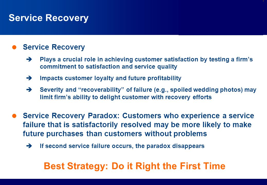 Services Marketing Slide © 2010 by Lovelock & Wirtz Services Marketing 7/e Chapter 13 – Page 9 Service Recovery  Service Recovery  Plays a crucial r