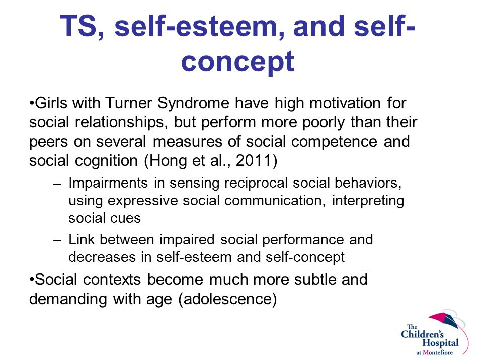 TS, self-esteem, and self- concept Girls with Turner Syndrome have high motivation for social relationships, but perform more poorly than their peers