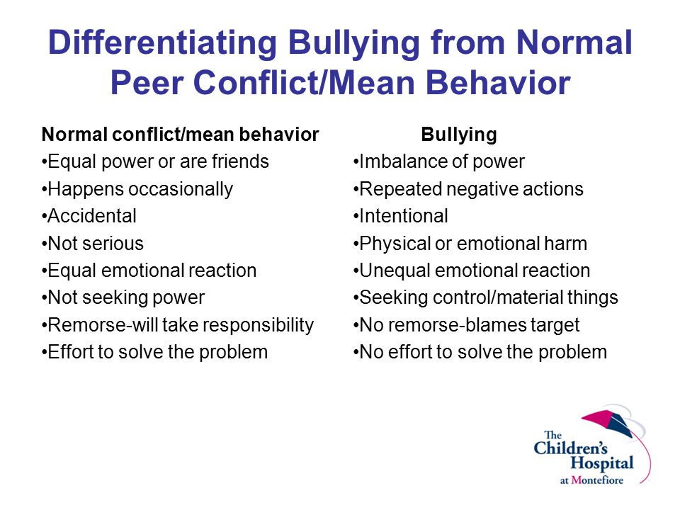 Differentiating Bullying from Normal Peer Conflict/Mean Behavior Normal conflict/mean behavior Equal power or are friends Happens occasionally Acciden