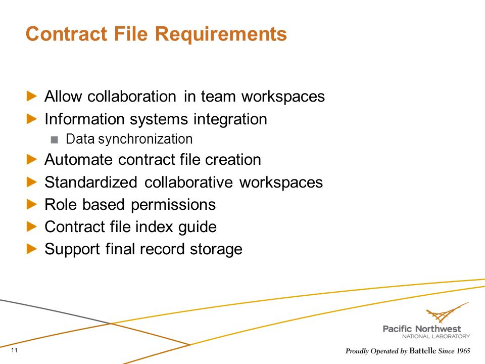 Contract File Requirements Allow collaboration in team workspaces Information systems integration Data synchronization Automate contract file creation Standardized collaborative workspaces Role based permissions Contract file index guide Support final record storage 11