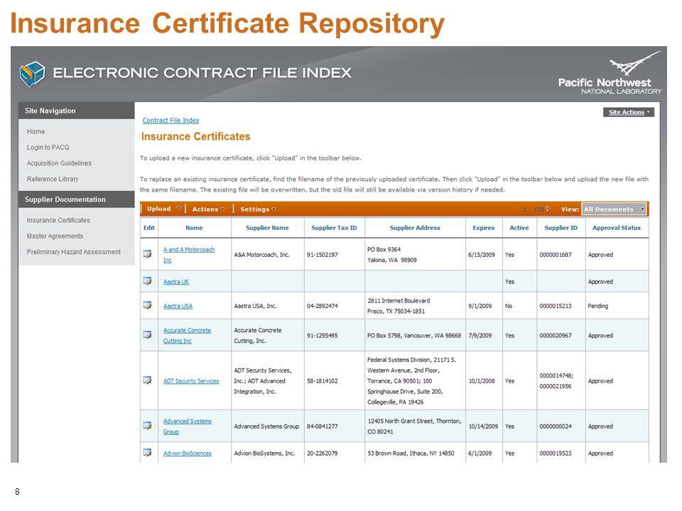 8 Insurance Certificate Repository