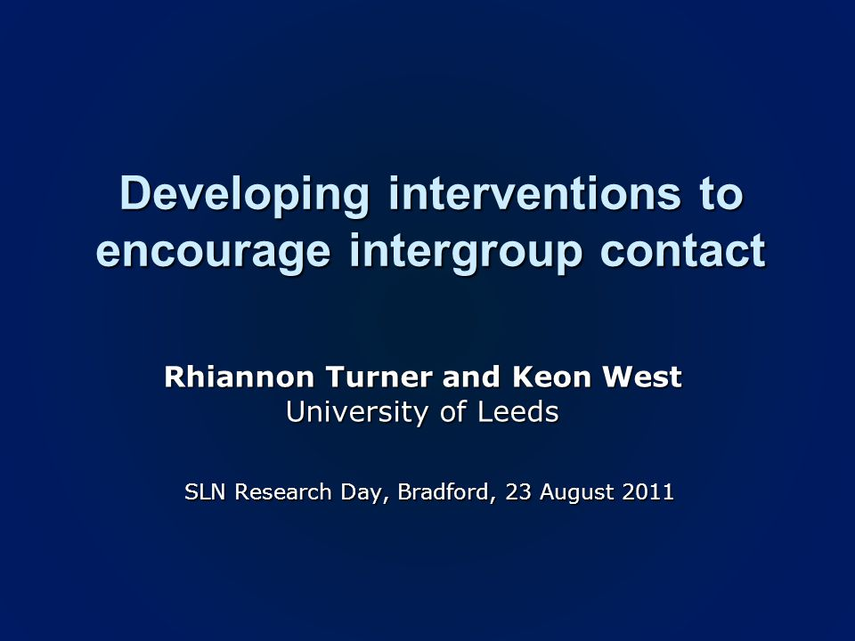 Findings Control conditionImagined contact condition Participants who imagined contact trusted asylum seekers more, had more positive attitudes towards them and were more keen to get to meet and get to know them Participants who imagined contact trusted asylum seekers more, had more positive attitudes towards them and were more keen to get to meet and get to know them