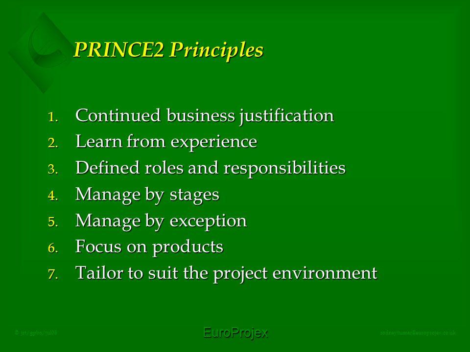 EuroProjex rodneyturner@europrojex.co.uk © jrt/gpbo/jul08 PRINCE2 Principles 1.