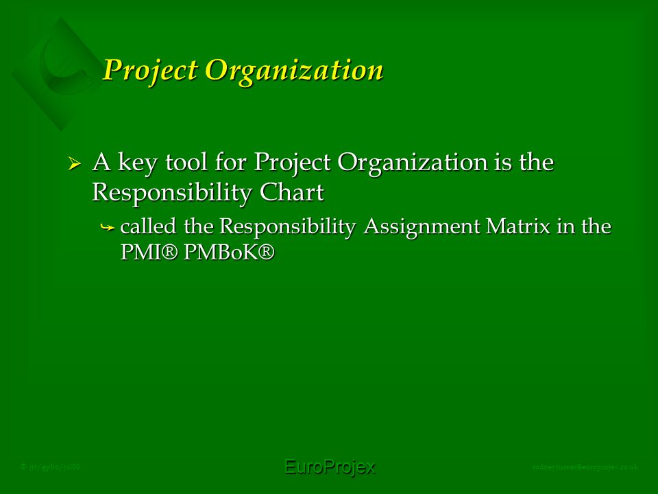 EuroProjex rodneyturner@europrojex.co.uk © jrt/gpbo/jul08 Project Organization  A key tool for Project Organization is the Responsibility Chart å called the Responsibility Assignment Matrix in the PMI® PMBoK®
