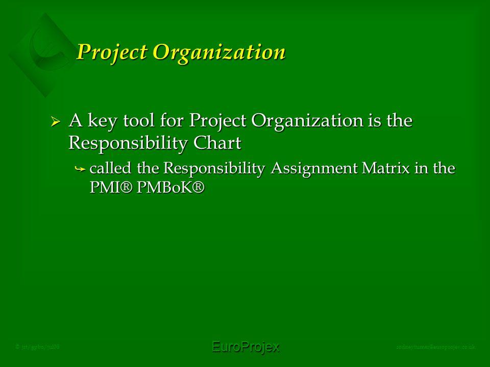 EuroProjex rodneyturner@europrojex.co.uk © jrt/gpbo/jul08 Project Organization  A key tool for Project Organization is the Responsibility Chart å cal