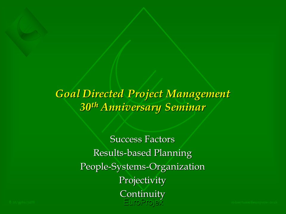 EuroProjex rodneyturner@europrojex.co.uk © jrt/gpbo/jul08 Goal Directed Project Management 30 th Anniversary Seminar Success Factors Results-based Planning People-Systems-OrganizationProjectivityContinuity