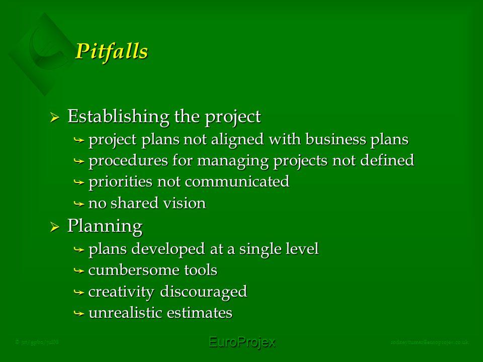 EuroProjex rodneyturner@europrojex.co.uk © jrt/gpbo/jul08 Pitfalls  Establishing the project å project plans not aligned with business plans å proced