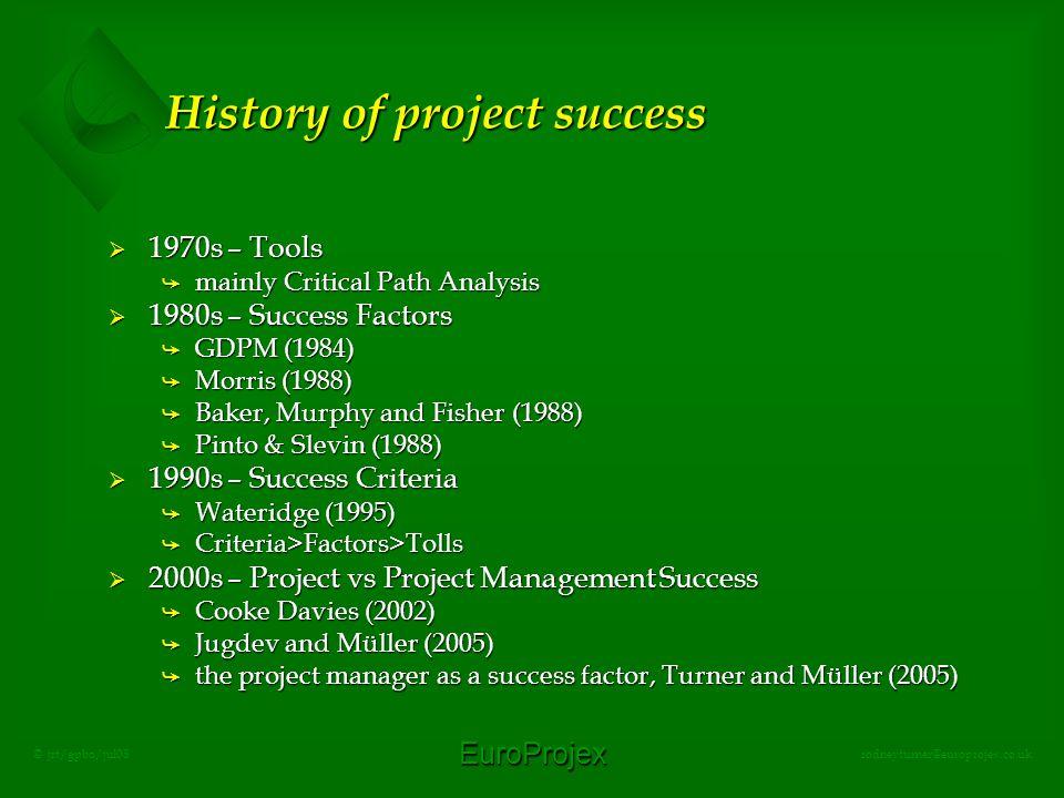 EuroProjex rodneyturner@europrojex.co.uk © jrt/gpbo/jul08 History of project success  1970s – Tools å mainly Critical Path Analysis  1980s – Success Factors å GDPM (1984) å Morris (1988) å Baker, Murphy and Fisher (1988) å Pinto & Slevin (1988)  1990s – Success Criteria å Wateridge (1995) å Criteria>Factors>Tolls  2000s – Project vs Project Management Success å Cooke Davies (2002) å Jugdev and Müller (2005) å the project manager as a success factor, Turner and Müller (2005)