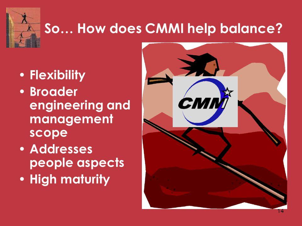 14 So… How does CMMI help balance.