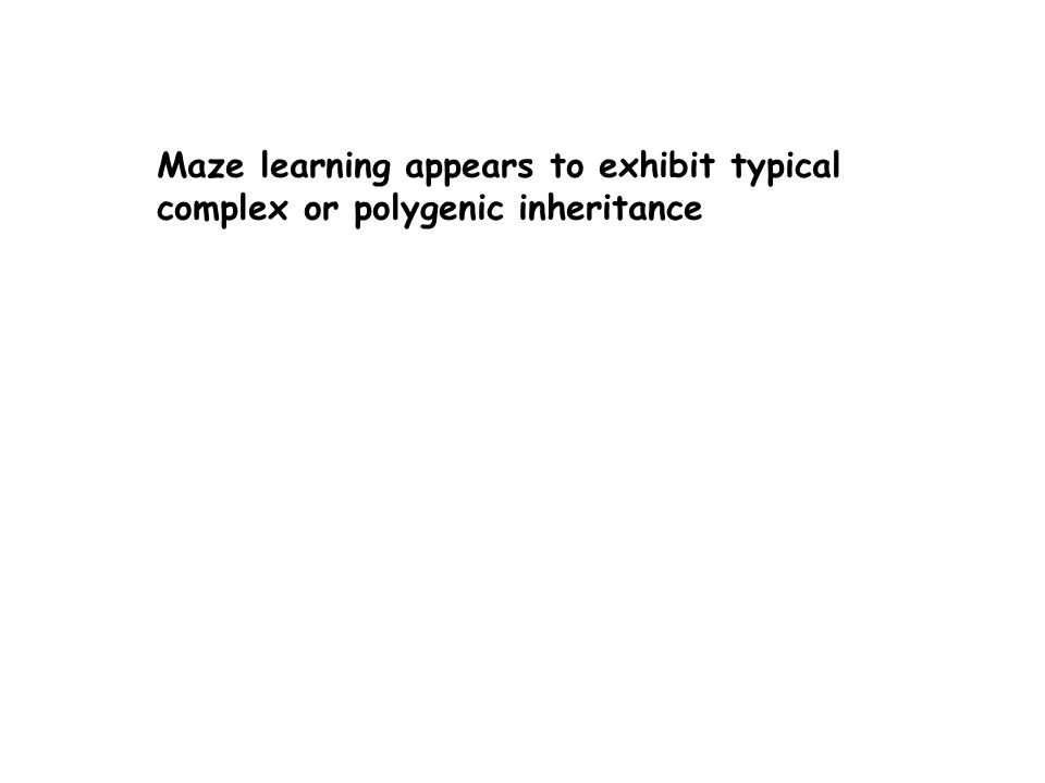 Maze learning appears to exhibit typical complex or polygenic inheritance