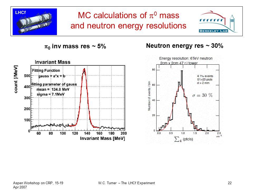 LHCf Aspen Workshop on CRP, 15-19 Apr 2007 W.C. Turner – The LHCf Experiment22 MC calculations of  0 mass and neutron energy resolutions  0 inv mass