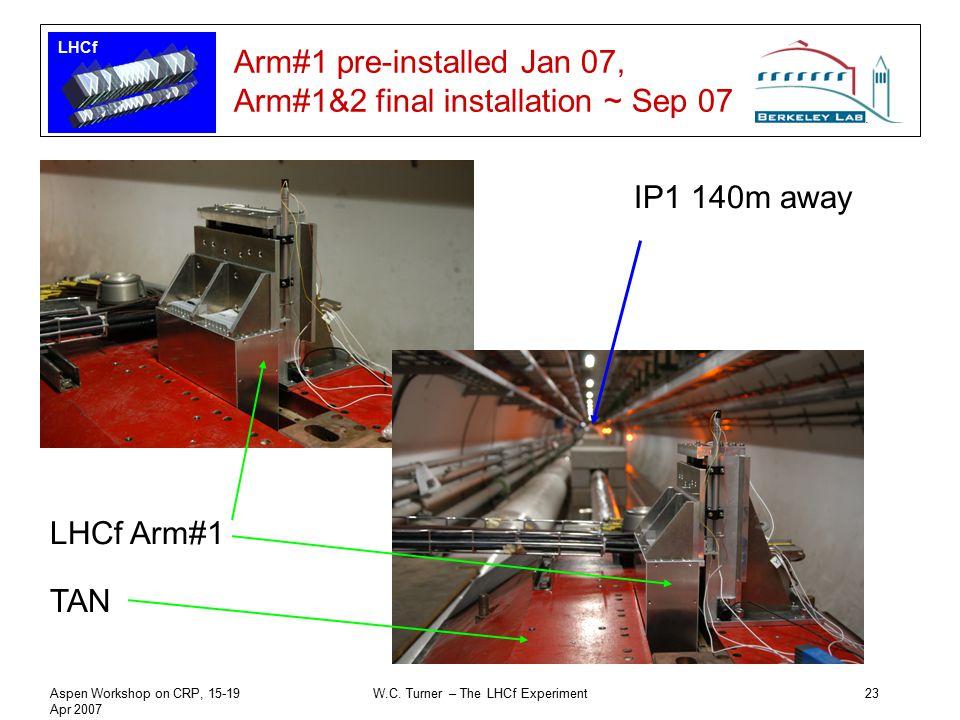 LHCf Aspen Workshop on CRP, 15-19 Apr 2007 W.C. Turner – The LHCf Experiment23 Arm#1 pre-installed Jan 07, Arm#1&2 final installation ~ Sep 07 IP1 140