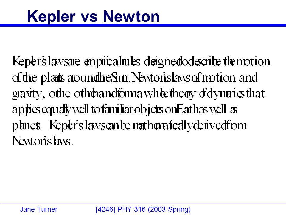 Jane Turner [4246] PHY 316 (2003 Spring) Kepler vs Newton
