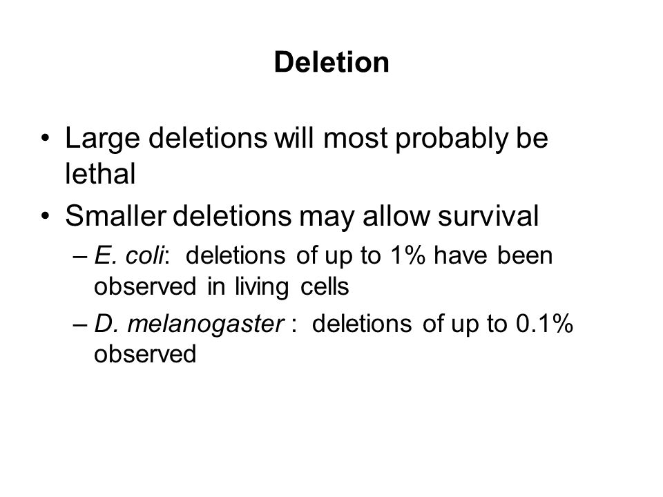 Deletion Large deletions will most probably be lethal Smaller deletions may allow survival –E. coli: deletions of up to 1% have been observed in livin