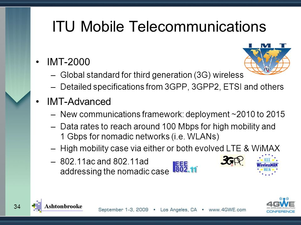 34 ITU Mobile Telecommunications IMT-2000 –Global standard for third generation (3G) wireless –Detailed specifications from 3GPP, 3GPP2, ETSI and othe