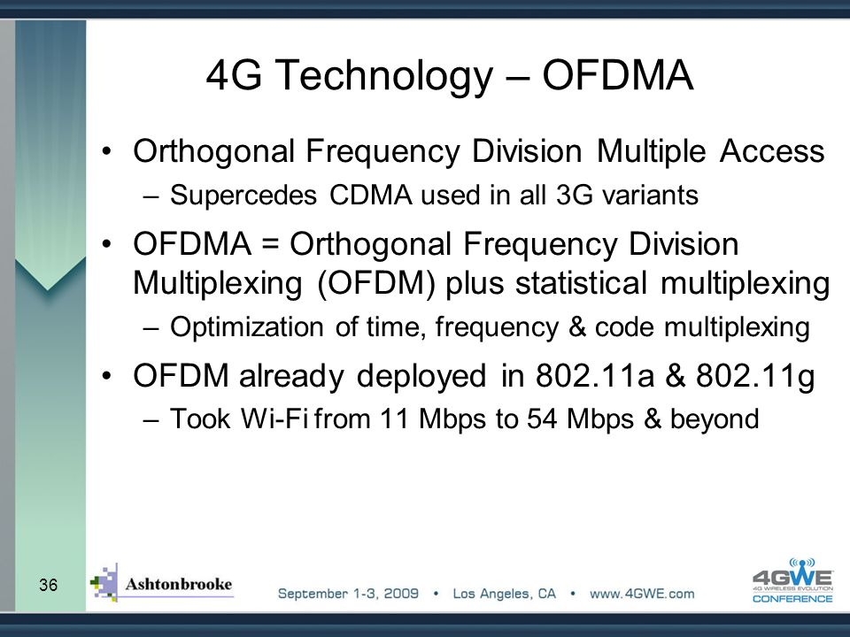 36 4G Technology – OFDMA Orthogonal Frequency Division Multiple Access –Supercedes CDMA used in all 3G variants OFDMA = Orthogonal Frequency Division