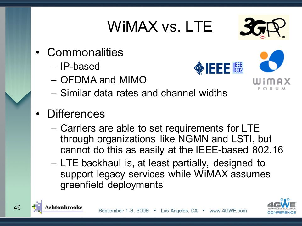 46 WiMAX vs. LTE Commonalities –IP-based –OFDMA and MIMO –Similar data rates and channel widths Differences –Carriers are able to set requirements for