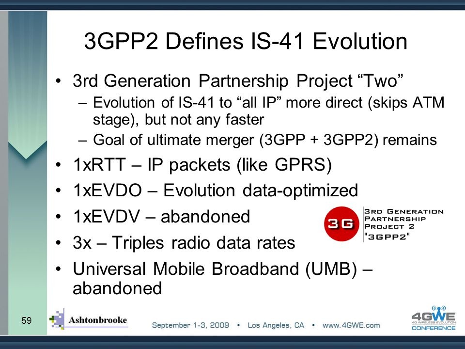 """59 3GPP2 Defines IS-41 Evolution 3rd Generation Partnership Project """"Two"""" –Evolution of IS-41 to """"all IP"""" more direct (skips ATM stage), but not any f"""