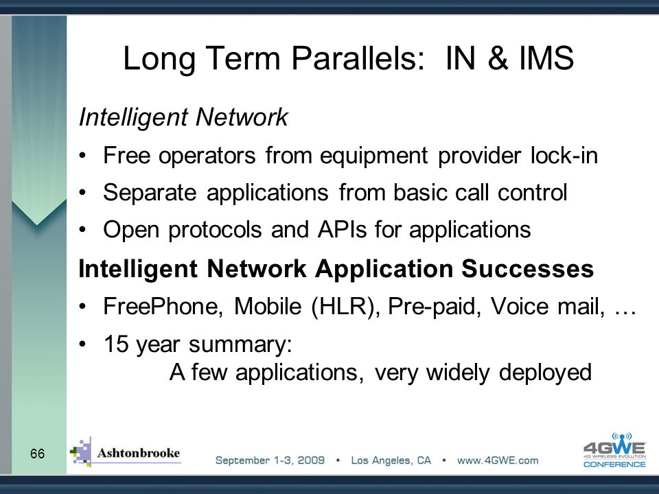 66 Long Term Parallels: IN & IMS Intelligent Network Free operators from equipment provider lock-in Separate applications from basic call control Open
