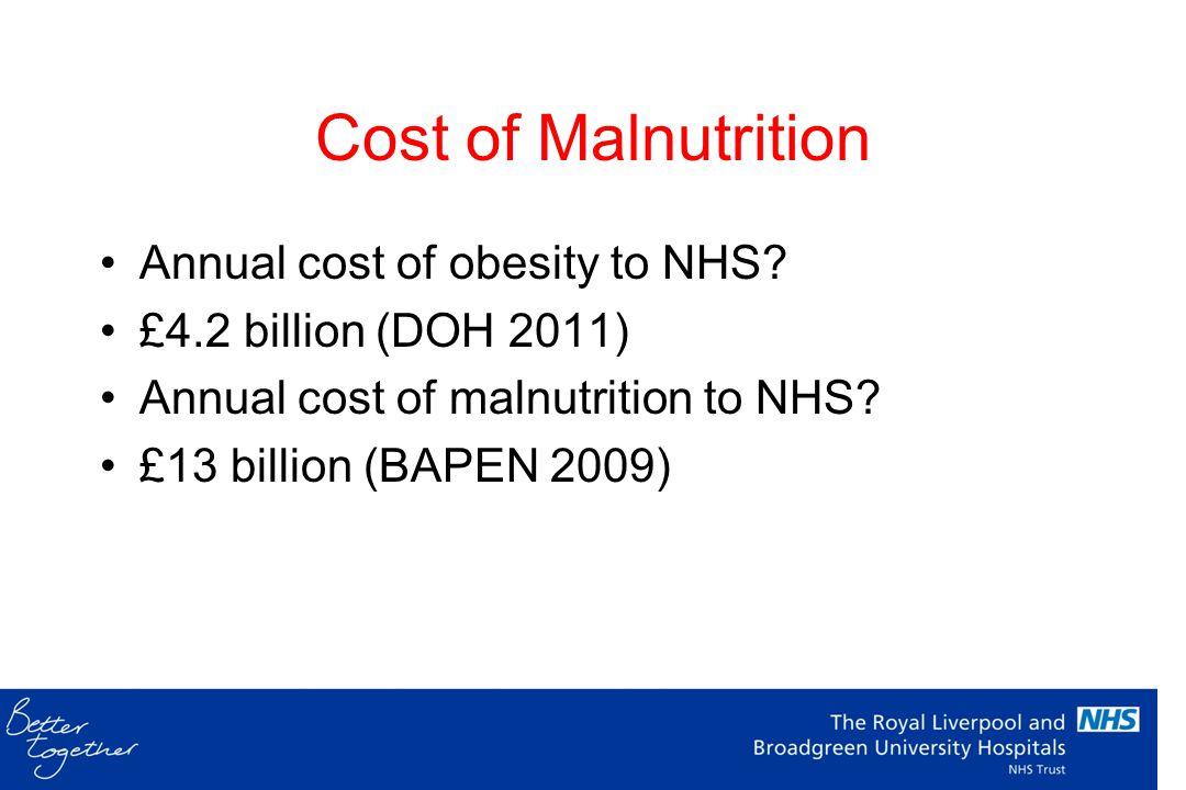 Malnutrition 1 in 5 malnourished (Edington 2000) Increased LOS More infections More antibiotics BAPEN NSW 2007 – RLBUHT
