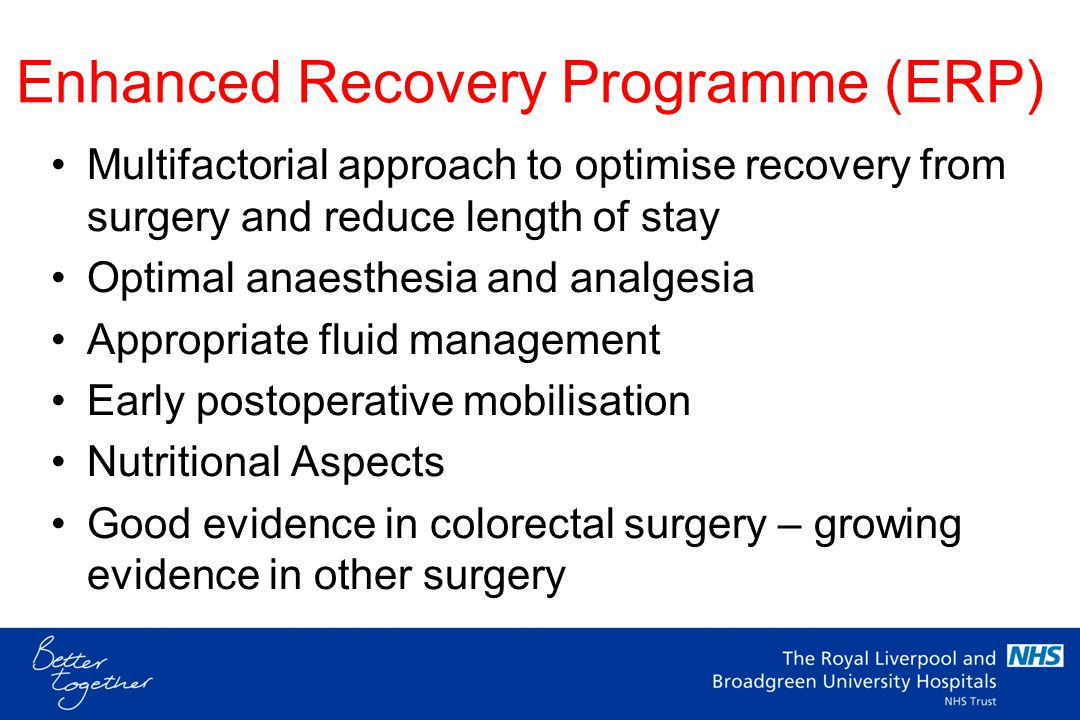 Programme ERP philosophy NBM Preoperative Carbohydrate Loading Malnutrition and surgery Screening - MUST Treatment plan