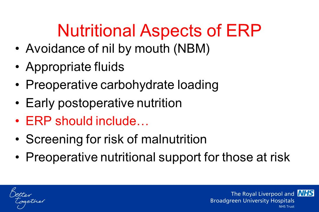 Enhanced Recovery & Malnutrition Does ER include preoperative treatment of malnutrition.