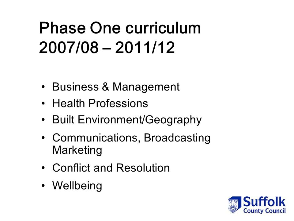 Phase One curriculum 2007/08 – 2011/12 Business & Management Health Professions Built Environment/Geography Communications, Broadcasting Marketing Conflict and Resolution Wellbeing