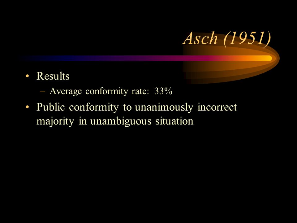 Results –Average conformity rate: 33% Public conformity to unanimously incorrect majority in unambiguous situation