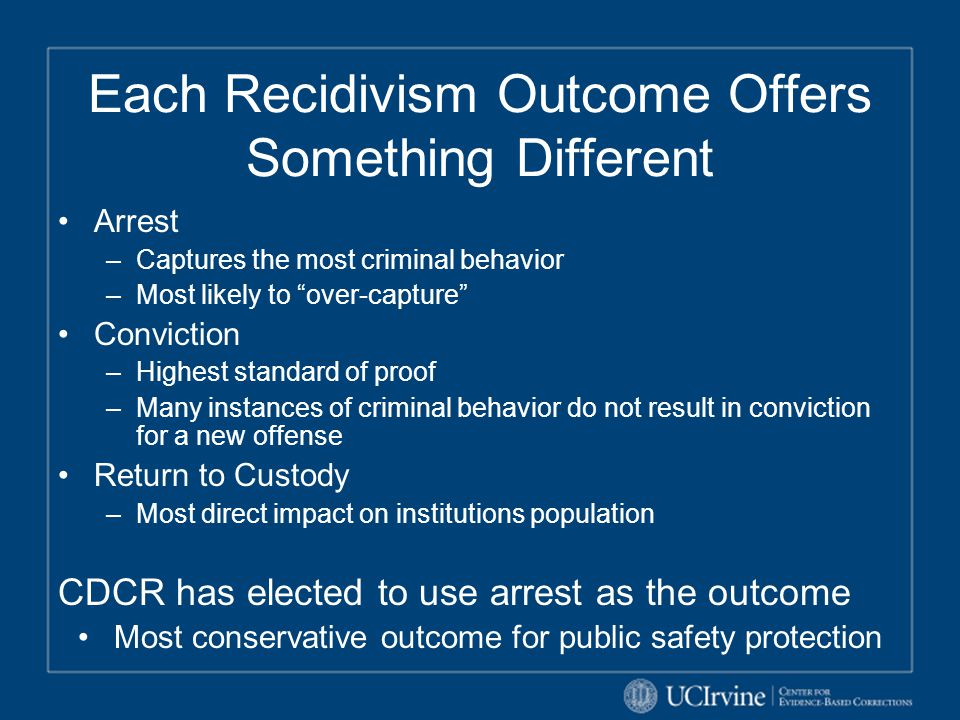 "Each Recidivism Outcome Offers Something Different Arrest –Captures the most criminal behavior –Most likely to ""over-capture"" Conviction –Highest stan"