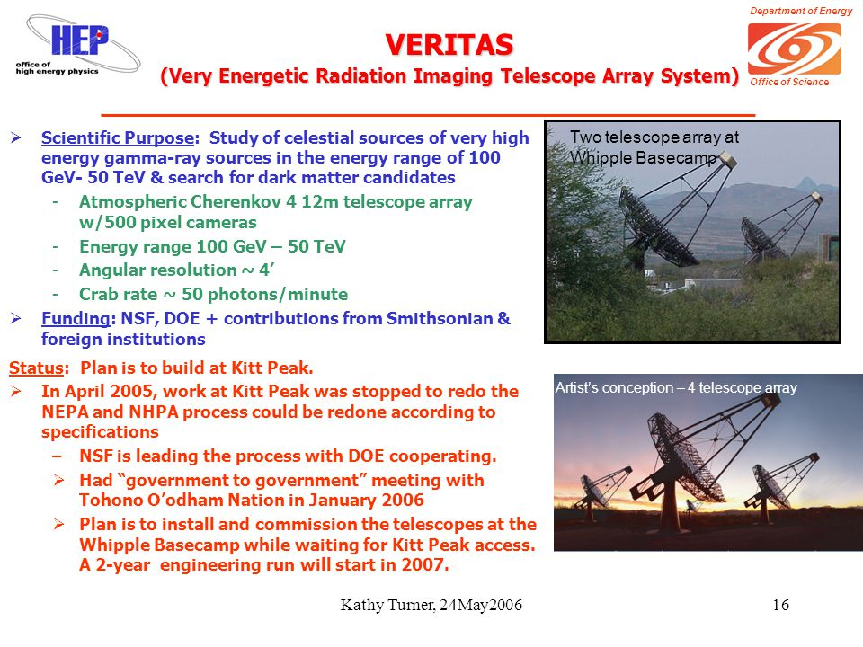 Department of Energy Office of Science Kathy Turner, 24May200616 VERITAS (Very Energetic Radiation Imaging Telescope Array System) Status: Plan is to