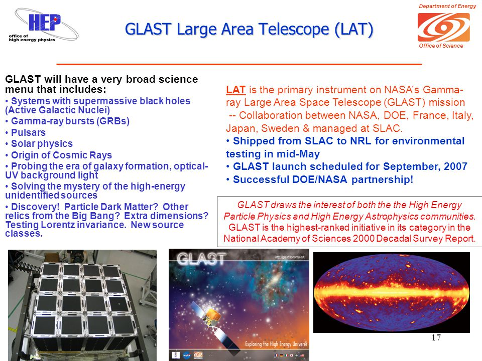 Department of Energy Office of Science Kathy Turner, 24May200617 GLAST Large Area Telescope (LAT) LAT is the primary instrument on NASA's Gamma- ray Large Area Space Telescope (GLAST) mission -- Collaboration between NASA, DOE, France, Italy, Japan, Sweden & managed at SLAC.
