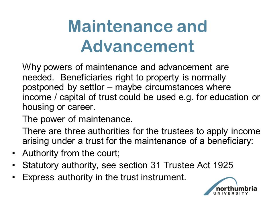 Insurance S19 TA 1925 replaced by s34 TA 2000 S19 provided for insurance but trustees could only insure max 75% of value of trust property. New powers