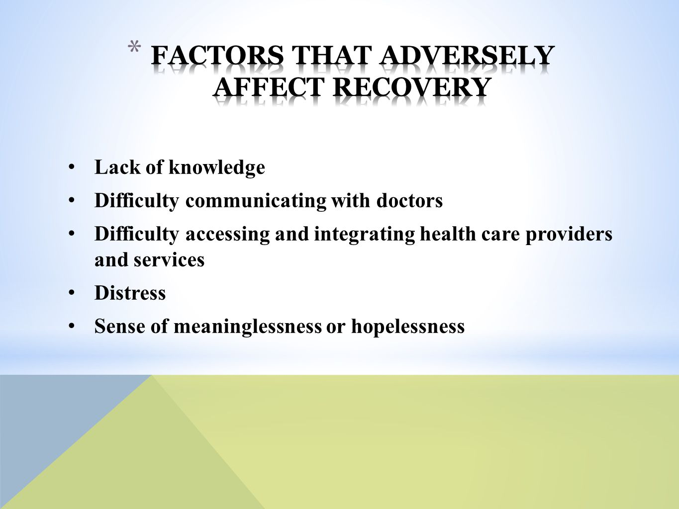 Lack of knowledge Difficulty communicating with doctors Difficulty accessing and integrating health care providers and services Distress Sense of meaninglessness or hopelessness
