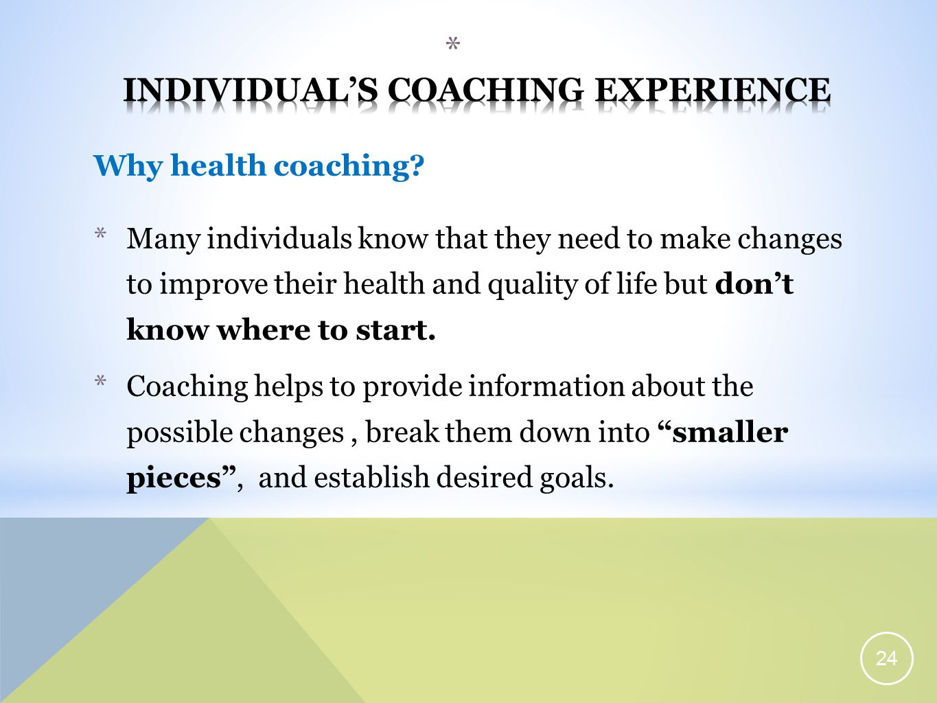 Why health coaching.