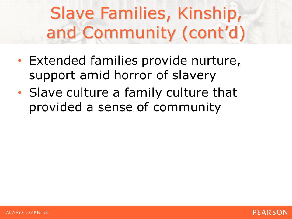 Slave Families, Kinship, and Community (cont'd) Extended families provide nurture, support amid horror of slavery Slave culture a family culture that provided a sense of community