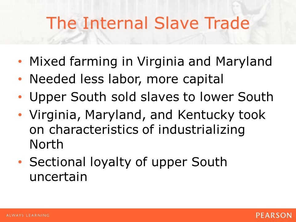 The Internal Slave Trade Mixed farming in Virginia and Maryland Needed less labor, more capital Upper South sold slaves to lower South Virginia, Maryland, and Kentucky took on characteristics of industrializing North Sectional loyalty of upper South uncertain