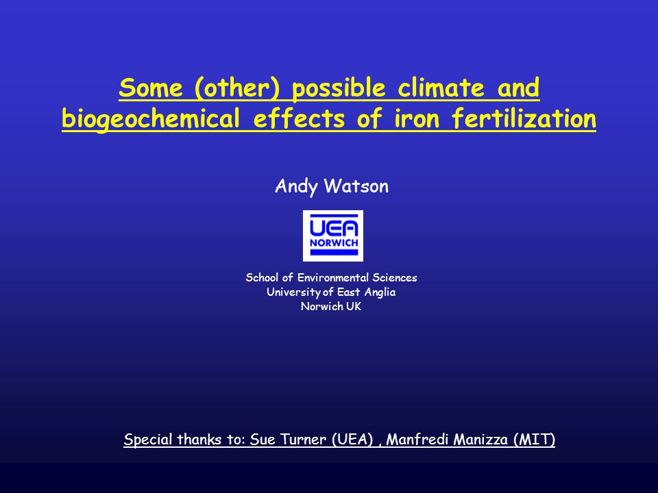Some (other) possible climate and biogeochemical effects of iron fertilization Andy Watson School of Environmental Sciences University of East Anglia Norwich UK Special thanks to: Sue Turner (UEA), Manfredi Manizza (MIT)