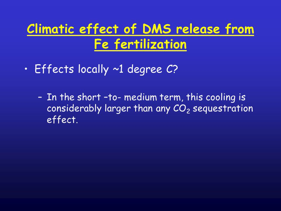 Climatic effect of DMS release from Fe fertilization Effects locally ~1 degree C.