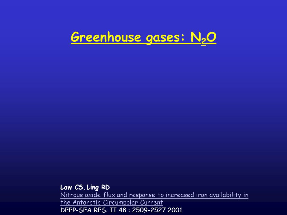 Greenhouse gases: N 2 O Law CS, Ling RD Nitrous oxide flux and response to increased iron availability in the Antarctic Circumpolar Current DEEP-SEA RES.