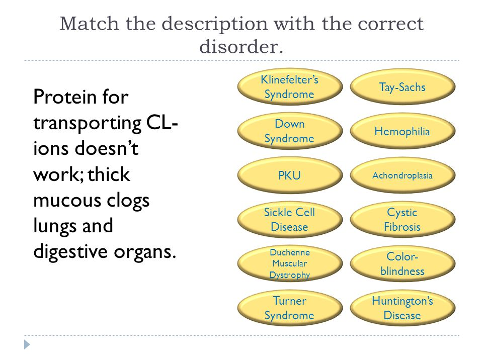 Match the description with the correct disorder. Protein for transporting CL- ions doesn't work; thick mucous clogs lungs and digestive organs. Tay-Sa