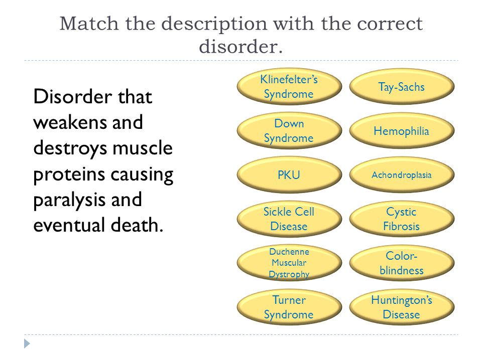 Match the description with the correct disorder. Disorder that weakens and destroys muscle proteins causing paralysis and eventual death. Tay-Sachs He