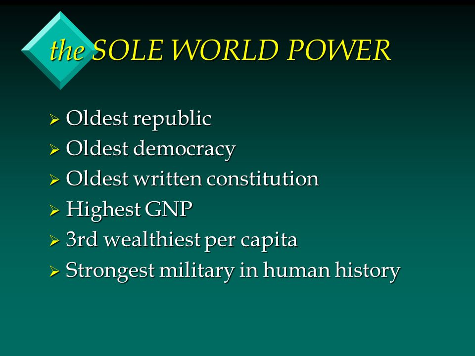 the SOLE WORLD POWER  Oldest republic  Oldest democracy  Oldest written constitution  Highest GNP  3rd wealthiest per capita  Strongest military