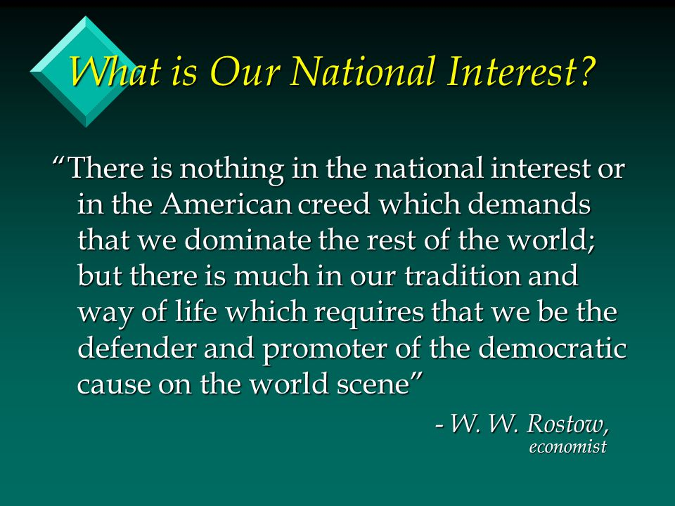 What is Our National Interest.