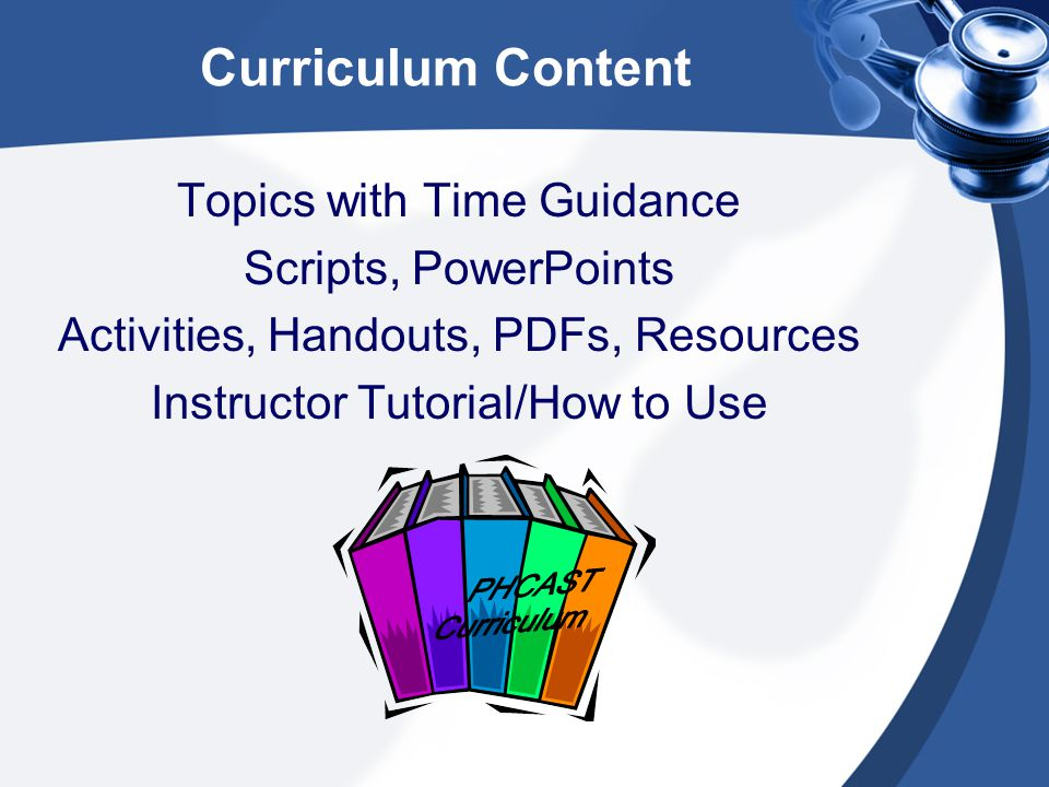 Curriculum Content Topics with Time Guidance Scripts, PowerPoints Activities, Handouts, PDFs, Resources Instructor Tutorial/How to Use